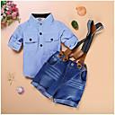 cheap Boys' Clothing Sets-Boys' Daily Holiday Striped Plaid Clothing Set, Cotton Summer Short Sleeves Light Blue