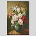 tanie Wydruki-Hang-Malowane obraz olejny Ręcznie malowane - Kwiatowy / Roślinny Nowoczesny Brezentowy / Rozciągnięte płótno