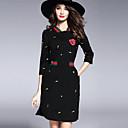 זול שמלות לבנות-מיני רקום, פרחוני - שמלה נדן בסיסי סגנון רחוב בגדי ריקוד נשים