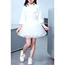 זול סטים של ביגוד לבנות-סט של בגדים כותנה פוליאסטר אביב שרוול ארוך יומי ליציאה אחיד בנות חמוד יום יומי לבן