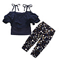 cheap Girls' Clothing Sets-Girls' Going out Holiday Solid Colored Floral Clothing Set, Cotton Acrylic Spring Summer Short Sleeves Vintage Cute Navy Blue