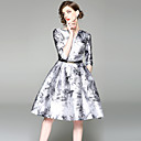 olcso Lány ruhák-Női Alkalmi Vintage / Utcai sikk A-vonalú Ruha - Nyomtatott, Absztrakt Térdig érő V-alakú