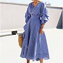 baratos Gargantilhas-Mulheres Moda de Rua Bainha Vestido Estampa Colorida Decote V Médio Azul
