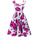 baratos Roupas Infantis de Dança-Mulheres Moda de Rua Bainha Vestido Sólido Floral Médio