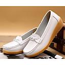 baratos Mocassins Femininos-Mulheres Sapatos Couro Ecológico Primavera / Outono Conforto Mocassins e Slip-Ons Salto Plataforma Branco / Preto / Vinho