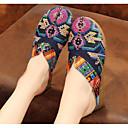 baratos Tamancos & Mules Femininos-Mulheres Sapatos Linho Primavera / Outono Conforto Tamancos e Mules Sem Salto Vermelho / Azul