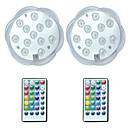 billige Flomlys-brelong® 2 stk 3w 12 leds undervannslys fjernstyrt / vanntett / dekorativt rgb 5,5v svømmebasseng