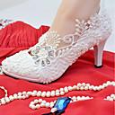 abordables Decoraciones de Pastel-Mujer Zapatos Encaje / Semicuero Primavera / Otoño Confort Zapatos de boda Tacón Stiletto Dedo redondo Pedrería / Perla de Imitación