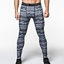 cheap Running Shirts, Pants & Shorts-Men's Running Tights - Black / Silver, Black / Green Sports Stripe, Camouflage Spandex Pants / Trousers / Tights Fitness, Gym, Workout Activewear Lightweight, Fast Dry, Anatomic Design Stretchy