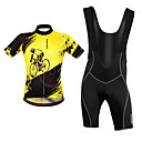 cheap Dog Clothes-WOSAWE Men's Cycling Jersey with Bib Shorts - Black / Yellow Bike Bib Shorts / Jersey / Clothing Suit, Breathable, Reflective Strips Polyester / Stretchy