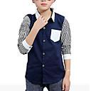 billige Topper til gutter-Barn Gutt Stripet Langermet Normal Bomull Skjorte Hvit 140