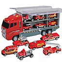 cheap Toy Trucks & Construction Vehicles-Toy Car Truck Construction Truck Set Fire Engine Vehicle Music Vehicles Glow Plastic Shell Kid's Gift 7pcs