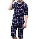 cheap Boys' Pants-Boys' Daily Holiday Solid Colored Plaid Suit & Blazer, Cotton Polyester Summer Half Sleeves Active Basic Beige Navy Blue