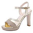 cheap Women's Sandals-Women's Shoes Patent Leather Summer / Fall Gladiator / Basic Pump Sandals Chunky Heel Gold / Silver / Party & Evening