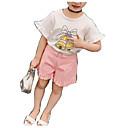 tanie Zestawy ubrań dla dziewczynek-Brzdąc Dla dziewczynek Podstawowy Codzienny Solidne kolory / Nadruk Krótki rękaw Regularny Bawełna / Jedwab wiskozowy Komplet odzieży Biały 100