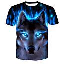 cheap Body Massager-Men's Basic T-shirt - Animal Wolf, Print Round Neck / Short Sleeve
