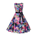 cheap Jewelry Sets-Women's Daily / Going out Street chic Slim Swing Dress - Floral Print Spring Cotton Rainbow L XL XXL