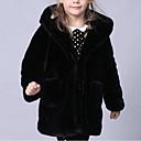 baratos Moletons Para Meninas-Para Meninas Jaqueta & Casaco Sólido Inverno Pêlo Sintético Tipo Especial de Pêlo Manga Longa Preto