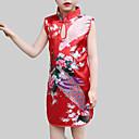 رخيصةأون فساتين البنات-للفتيات النمط الصيني بنطلون - ورد أحمر / طفل صغير