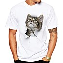 cheap Hiking Trousers & Shorts-Men's Street chic Plus Size T-shirt - Animal Cat, Print Round Neck / Short Sleeve