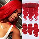 tanie Plecaki-4 zestawy Włosy brazylijskie Falowana Włosy virgin Pakiet One Solution Doczepy z naturalnych włosów Taśma włosów z zamknięciem Czerwony Ludzkie włosy wyplata Miękka Gorąca wyprzedaż Naturalna linia