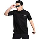 hesapli Çerçeveli Resimler-Erkek Tek Renk T-shirt turystyczny Kısa Kollu Açık hava Nefes Alabilir Hızlı Kurulama Hızlı Kuruma Pochłanianie potu Tişört Üstler Yaz Polyester Dik Yaka Siyah Kamp & Yürüyüş Dış Mekan Egzersizi
