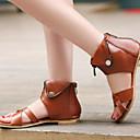 abordables Sandalias de Mujer-Mujer Zapatos PU Primavera verano Confort / Innovador Sandalias Tacón Plano Remache Negro / Beige / Marrón