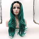 cheap Synthetic Lace Wigs-Synthetic Lace Front Wig Wavy Minaj Style Layered Haircut Lace Front Wig Green Black / Dark Green Synthetic Hair Women's Curler & straightener Green Wig Medium Length Skyworth / Yes