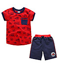 cheap Boys' Shoes-Kids Boys' Basic Print Short Sleeve Polyester Clothing Set Red