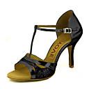 رخيصةأون Lolita باروكات-للمرأة أحذية رقص / أحذية سالسا بريّق / جلد صندل / كعب مشبك / عقدة شريطة كعب مخصص مخصص أحذية الرقص ذهبي / أسود / فضي / أداء / متخصص