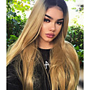 cheap Human Hair Wigs-Synthetic Lace Front Wig Women's Wavy Blonde Middle Part 150% Density Synthetic Hair Heat Resistant / Women / Color Gradient Blonde Wig Long Lace Front Black / Strawberry Blonde / Yes