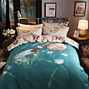 tanie Floral Duvet Okładki-Zestawy kołdra okładka Kwiaty Bawełniano-poliestrowy Drukowane 4 elementy