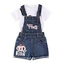 זול סטים של ביגוד לבנות-סט של בגדים שרוולים קצרים דפוס בנות ילדים / פעוטות