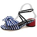 cheap Women's Sandals-Women's Shoes Fabric / PU(Polyurethane) Summer Comfort Sandals Chunky Heel Black / Blue