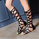 hesapli Kadın Sandaletleri-Kadın's Ayakkabı Yapay Deri Bahar / Yaz Rahat / Gladyatör Sandaletler Düz Taban Açık Uçlu Günlük / Dış mekan için Siyah / Haki