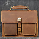 cheap Briefcases-Men's Bags Genuine Leather / Cotton / Polyester Briefcase Zipper Coffee / Brown / Dark Brown