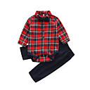ieftine Set Îmbrăcăminte Băieți Bebeluși-Bebelus Băieți De Bază Zilnic Plisat Manșon Lung Bumbac / Poliester Set Îmbrăcăminte Roșu-aprins 90