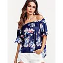 זול סטים של ביגוד לבנות-פרחוני סירה רחב ליציאה חולצה - בגדי ריקוד נשים / קיץ / דפוסי פרחים