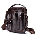 cheap Shoulder Bags-Men's Bags Leather Shoulder Bag Zipper Coffee / Brown