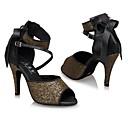 رخيصةأون أحذية لاتيني-للمرأة أحذية رقص بريق كعب ترتر كعب عالي مخصص أحذية الرقص كوفي / أداء / جلد