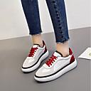 זול סניקרס לנשים-בגדי ריקוד נשים נעליים עור סתיו / אביב קיץ נוחות נעלי ספורט שטוח שחור / אדום