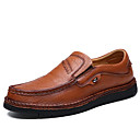 cheap Men's Oxfords-Men's Moccasin Cowhide Spring Loafers & Slip-Ons Black / Brown / Khaki