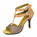 cheap Latin Shoes-Women's Latin Shoes / Salsa Shoes Satin / Silk Sandal / Heel Buckle / Ribbon Tie Customized Heel Customizable Dance Shoes Bronze / Almond / Nude / Performance / Leather / Professional