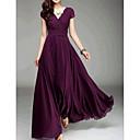 baratos Decorações para Casamento-Mulheres Para Noite Delgado balanço Vestido Sólido Decote em V Profundo Cintura Alta Longo / Primavera