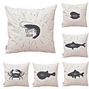 abordables Anillos-6 PC Textil / Algodón / Lino Funda de almohada, Art Decó / Animal / Estampado Simple / Cuadrado