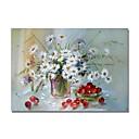 tanie Obrazy: motyw roślinny/botaniczny-styledecor® nowoczesne ręcznie malowane abstrakcyjne martwa natura białe kwiaty i wiśnie obraz olejny na płótnie na ścianę gotowy do powieszenia sztuki