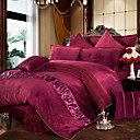cheap Solid Duvet Covers-Duvet Cover Sets Solid Colored Polyster Yarn Dyed 4 Piece
