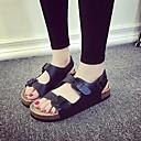 billige Sandaler til damer-Dame Sko PU Sommer Komfort Sandaler Flat hæl Åpen Tå Hvit / Svart
