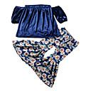 ieftine Seturi Îmbrăcăminte Fete-Copii Fete De Bază Mată Manșon scurt Poliester Set Îmbrăcăminte Albastru piscină 100