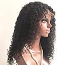 olcso Emberi hajból készült parókák-Kémiai anyagoktól mentes / nyers Csipke Paróka Mongol haj Göndör Réteges frizura 130% Sűrűség Baba hajjal / Fekete hölgyeknek Fekete Női Rövid / Hosszú / Közepes hosszúságú Emberi hajból készült